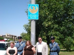 Officer Arther DelGaudio Police marker dedication. Pictured left to right: Beth DelGaudio-Salinger (wife of fallen Officer Art DelGaudio), Sgt. Vern Brink PPD Honor Guard, Andrea Salinger (Art's Daughter), MR. Robert Pinchawsky (son in law), and Lt. Richard Gehlbach PPD Honor Guard.