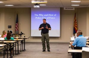 Peoria Police Association President Lon Bartel speaking to a group of citizens on police use of force at a recent citizens academy